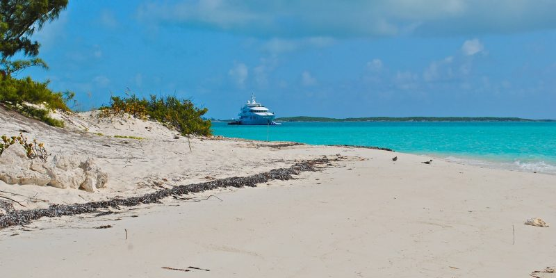 beach on great exuma, bahamas