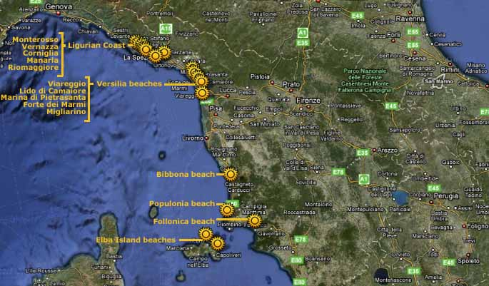 Tuscany Beaches Map