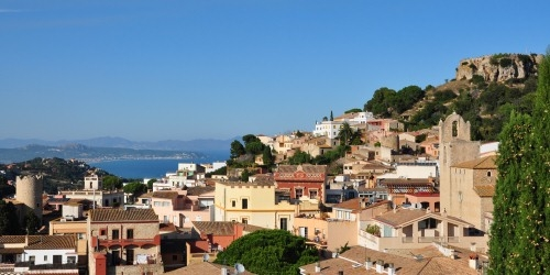 Image taken from Begur town showing Begur castle and Pals coastline in Costa Brava